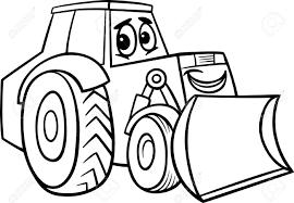 black and white cartoon illustration of funny bulldozer machine