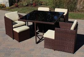 Dining Patio Set Henryka 9 Dining Patio Set With Cushions Brown Walmart