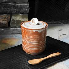 stoneware kitchen canister lidded jar stash jar seashell jar