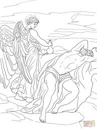 god sends an angel to elijah coloring page free printable