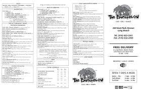 the bungalow menu menu for the bungalow long beach long island
