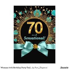 womans 70th birthday party teal blue and gold card u2026 pinteres u2026