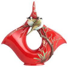 Franz Vase Franz Porcelain Collection Winter Sweet And Mountain Birds Vase