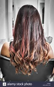 rear view of young woman in hair salon with long brunette hair