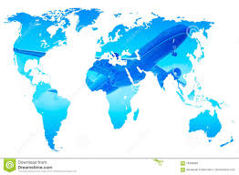 Double Map Plane Over Blue Gradient World Map Double Exposure Isolated