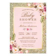 girl baby shower invitations pink gold baby shower invitations sempak b15b98a5e502