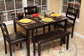 Dining Room Sets Bench Amazon Com 5pc Dining Dinette Table Chairs U0026 Bench Set Espresso