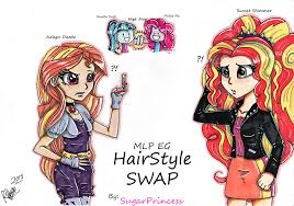 applejack hairstyles hairstyle swap adagio and sunset mlp eg by sugarprincess37 on