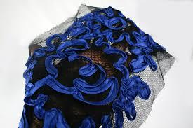 black and blue ribbon applique border embellishment embroidery cobalt blue ribbon on