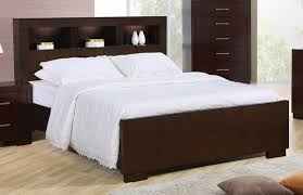 Headboard With Lights Contemporary Bed Storage Headboard W Lights Cappuccino Finish
