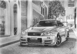 Nissan Gtr R34 - nissan skyline gtr r34 sketch uv cardrawings draw to drive