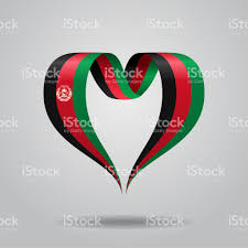 afghanistan ribbon afghanistan flag heartshaped ribbon vector illustration stock