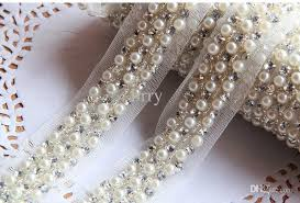pearl lace online cheap wholesale 10yards 4cm pearl rhinestone beaded lace