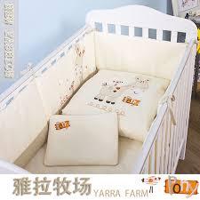 Pony Crib Bedding 7pcs Set Cotton Baby Bedding Set Embroidery Pony With Bird Crib