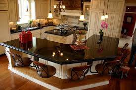 Kitchen Island Black Granite Top Corner White Wooden Cabinet With Black Marble Top Connected With