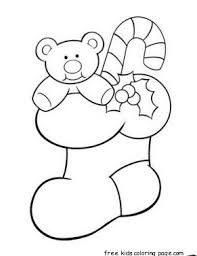 print teddy bear christmas stocking holder coloring pagefree