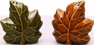 ceramic leaves salt pepper shaker