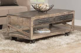 hillsdale bridgewater coffee table with casters brushed tan 4655