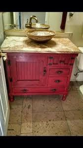 bathroom vanity in red distressed cabinets pinterest