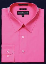 hot pink colour slim narrow style fit dress shirt fuchsia hot pink color