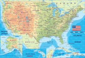 physical map of the united states usa legend map