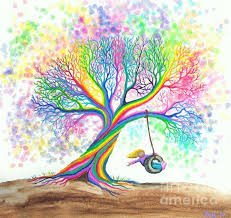 still more rainbow tree dreams greeting card for sale by nick