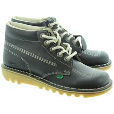 womens kicker boots uk kickers leather kick hi lace boot in navy in navy