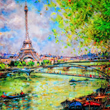 colorful painting of eiffel tower in paris u2014 stock photo