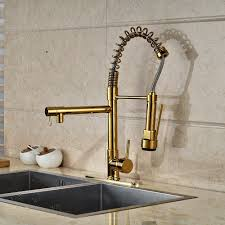 kitchen sink faucets cornet gold finish kitchen sink faucet with dual spouts u0026 cover