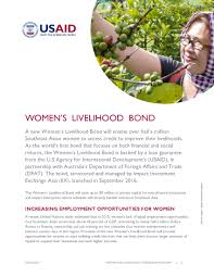 women s women s livelihood bond fact sheet asia regional u s agency