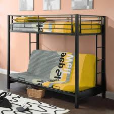 Twin Over Futon Bunk Bed Premium Twin Over Futon Metal Bunk Bed Black Walmart Com