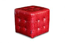Ottoman Red by Red Crocodile Pattern Vinyl Modern Tufted Cube Accent Ottoman