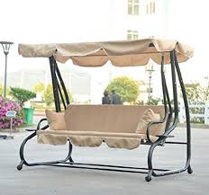 amazon com outsunny covered outdoor porch swing bed with frame
