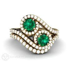 unique stone rings images Toi et moi engagement emerald ring vintage style 2 stone bypass jpg