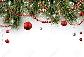 christmas background with fir branches and balls royalty free