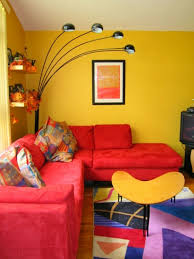Living Room With Red Sofa by Home Furnishings Living Room Red Sofa Yellow Walls Cool Floor Lamp