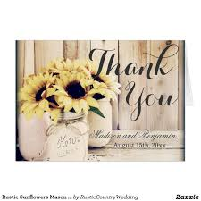 rustic sunflowers mason jar wedding thank you card thank you