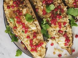 pomegranate and couscous stuffed eggplant recipes kitchen stories
