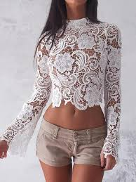 white lace blouses turtleneck white lace blouses see through sleeve