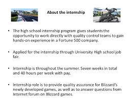 Blizzard Resume Summer Internship At About Blizzard Entertainment Blizzard