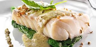 cuisiner le lieu jaune lieu jaune aux épinards et crème de riz aux algues facile recette