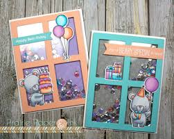 prairie paper ink mft beary special birthday shaker cards