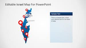 Flag Of Israel Map Of Israel For Powerpoint Slidemodel