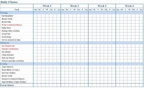 chore calendar template great printable calendars