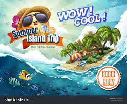 summer island trip tour attractive vacation stock vector 679209406