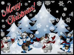 Cute Christmas Meme - merry christmas cute snowmen and reindeer with falling snow glitter