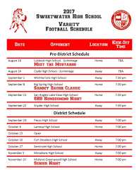 mustang football schedule 2017 sweetwater mustang football schedule available now for