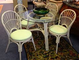 rattan dinette set off white 4 chairs and 36 inch glass top