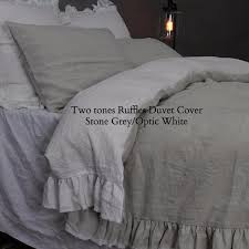 buy our two tones ruffles pure linen duvet cover linenshed
