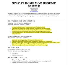 Resume Examples For Stay At Home Moms by Stay Home Mom Resume Sample